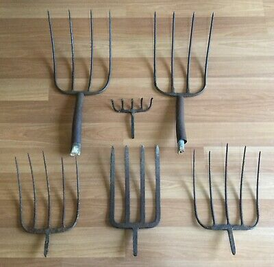 OLD VTG ANTIQUE HAY PITCH FORK HEAD FARM GARDEN TOOL  4 5 PRONG TINE LOT OF 6