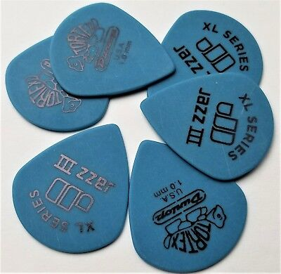 Dunlop Tortex Jazz III XL  6 Picks 1.0mm Blue for sale  Shipping to India