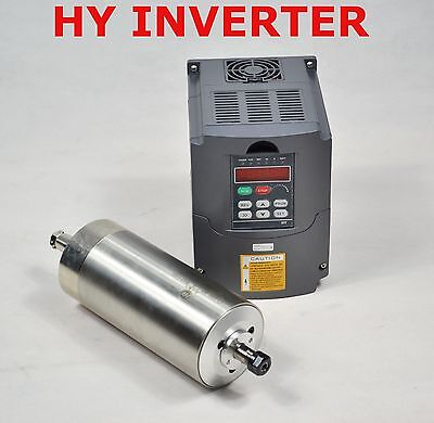 Cnc 80mm Er11 1.5kw Water Cooled Motor Spindle And Drive Inverter Vfd Hy