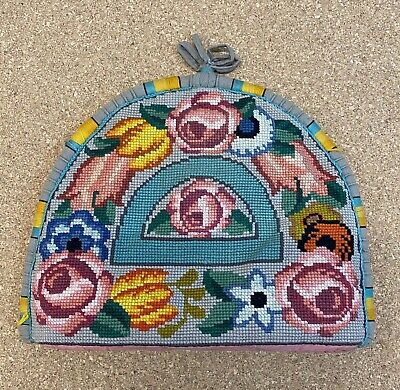 Stunning Vintage Art Deco Needlepoint Tea Cosy circa 1920 Double sided and lined