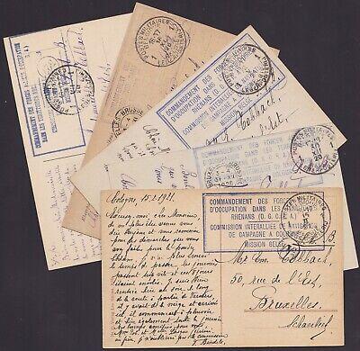 Allemagne 1920 Occupation Belge - Lot de 5 Cp COLOGNE obl BPM 1..........X1631