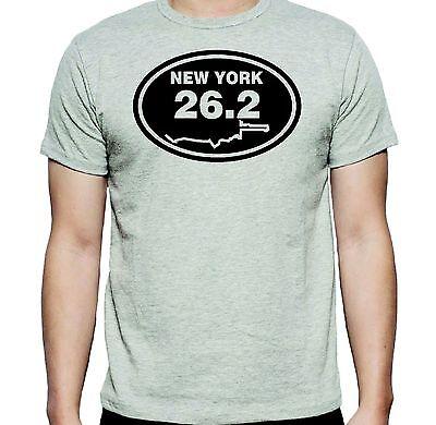 NEW YORK MARATHON 26.2 ROUTE MAP T-SHIRT TEE  T SHIRT, COLOR : ASH - New York Ash Grey T-shirt