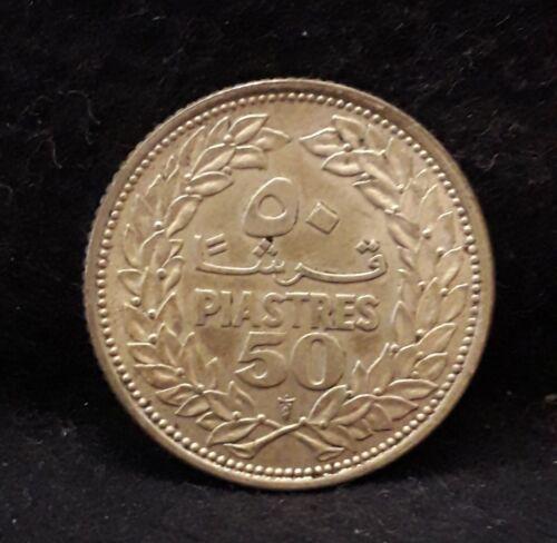 1952 Lebanon silver 50 piastres, good grade, KM-17