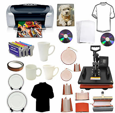 New 8in1heat Pressepson Printerinksublimation T-shirtsmugshatsplates Combo