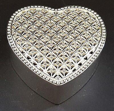 Silver plate & sparkly stone vintage Art Deco antique heart shape trinket box