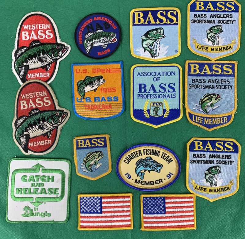 vintage lot of 14 Bass Fishing  Embroidered Patches