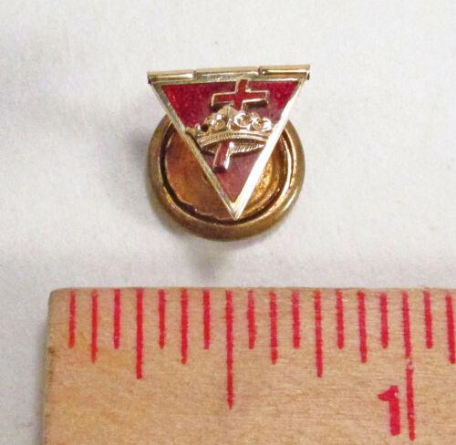 Vintage Knights Templar Masonic 14K Gold Cross & Crown Secret Folding Lapel Pin