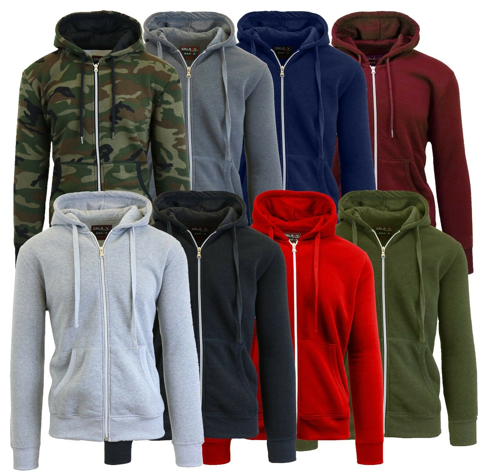 Mens Fleece Hoodie Jacket Sweater Layering Zip Up & Pullover & Sherpa – S-XXL Activewear