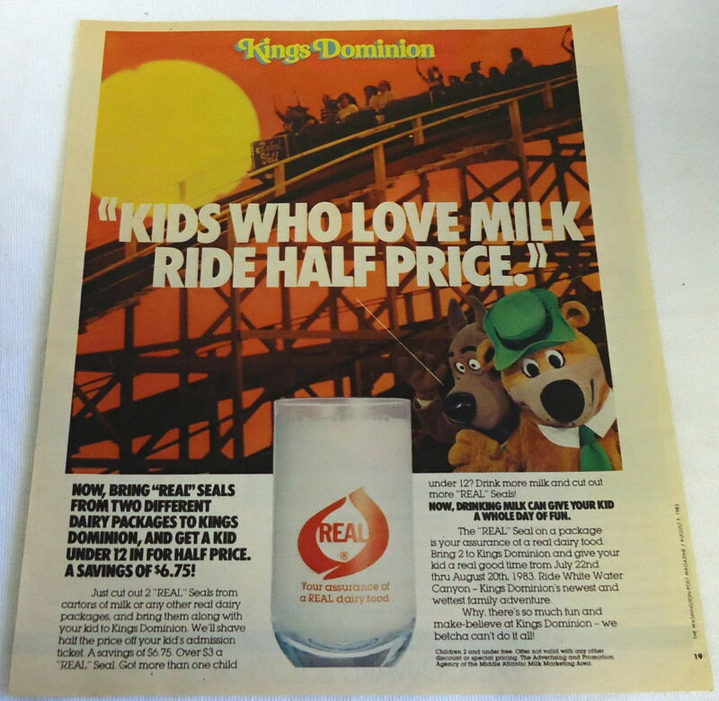 1983 Real milk ad page ~ KINGS DOMINION, Scooby Doo, Yogi Bear