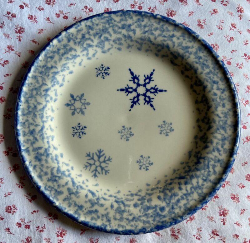 "Vintage HENN Pottery Christmas Snowflake Blue Spongeware Plate 8.5"" EUC Rare"