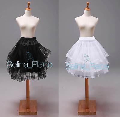 Girls Women Knee Length Lace Edge Crinoline Petticoat Skirts Silps Cocktail TUTU