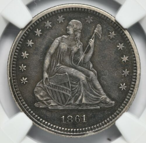 1861 Seated Liberty Silver Quarter Civil War Issue NGC AU-50