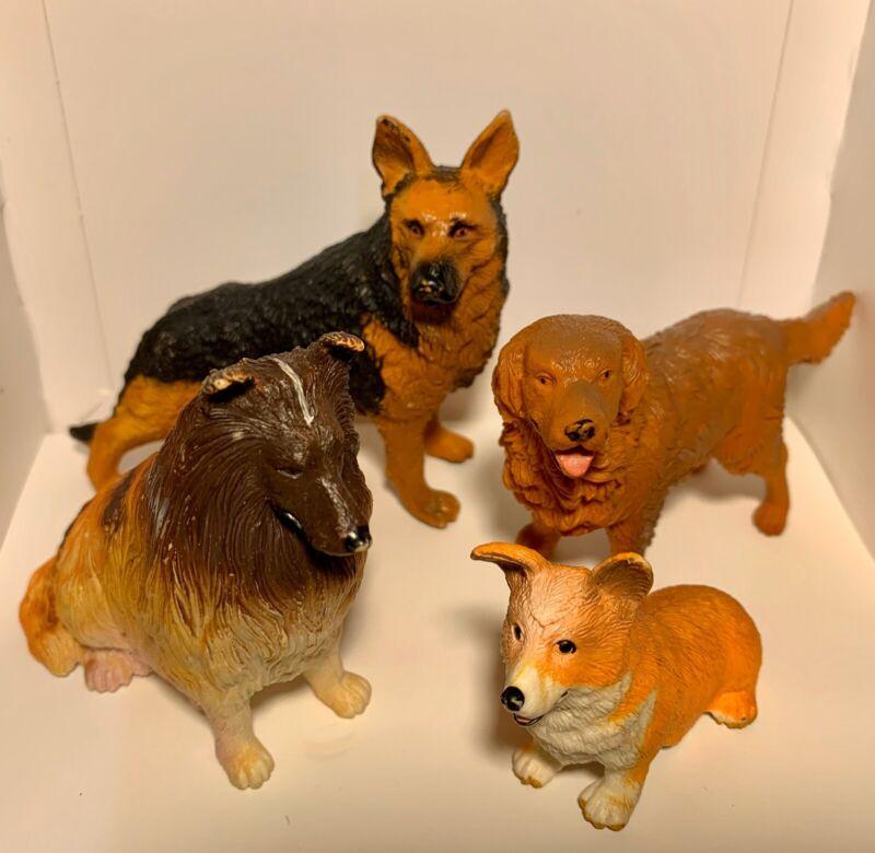 PVC Realistic Dog Toy Figures Golden Retriever Corgi German Shephard Collie Lot