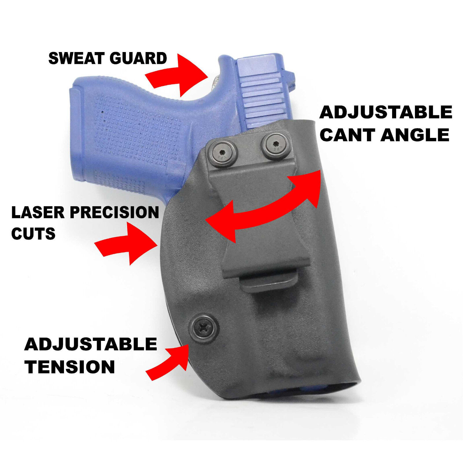 Concealment IWB Adjustable Cant Holster for Glock Handguns