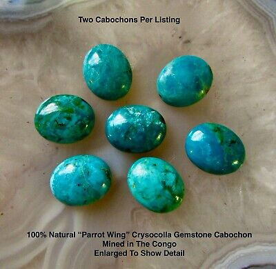 Natural Genuine Chrysocolla Cabochon Oval 8mm x 10mm, Two Cabochons