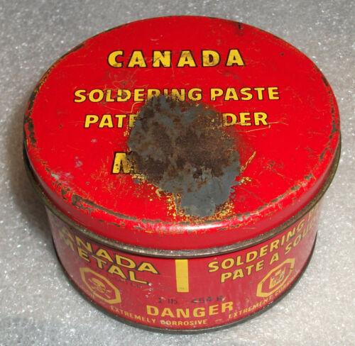 VINTAGE RED METAL TIN CAN CANADA METAL CO. LTD TORONTO 1LB SOLDERING PASTE