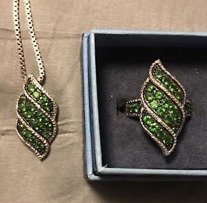 6CWT each Crome Diopside Pendant & Ring Set
