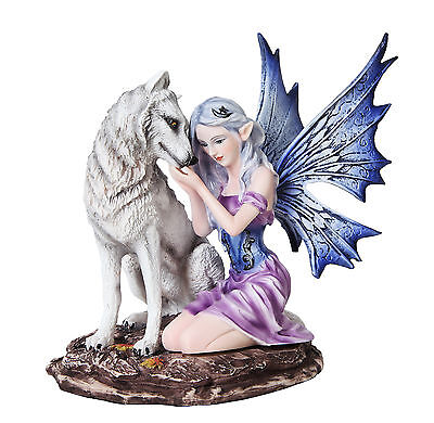 Fairy With White Wolf Statue Home Decor Twilight Collectible Lobo Ada