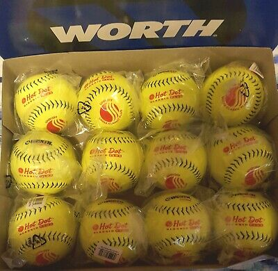 One Dozen Worth Hot Dot USSSA SLOWPITCH Softballs Brand New 12 Inch