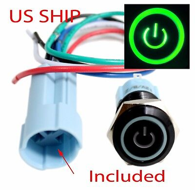 Bsf 16mm Green On Off Led 12v Latching Push Button Power Switch Waterproof