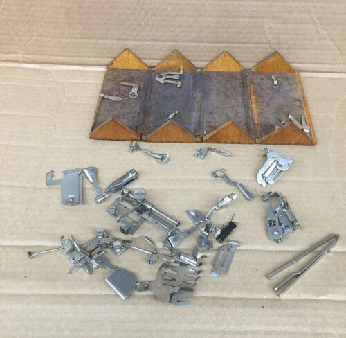 Vintage Singer sewing machine puzzle attachment box w/ content parts pieces 1889