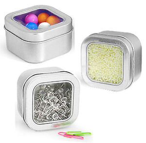 square metal tins w clear top lid covers 4 oz containers for crafts pack