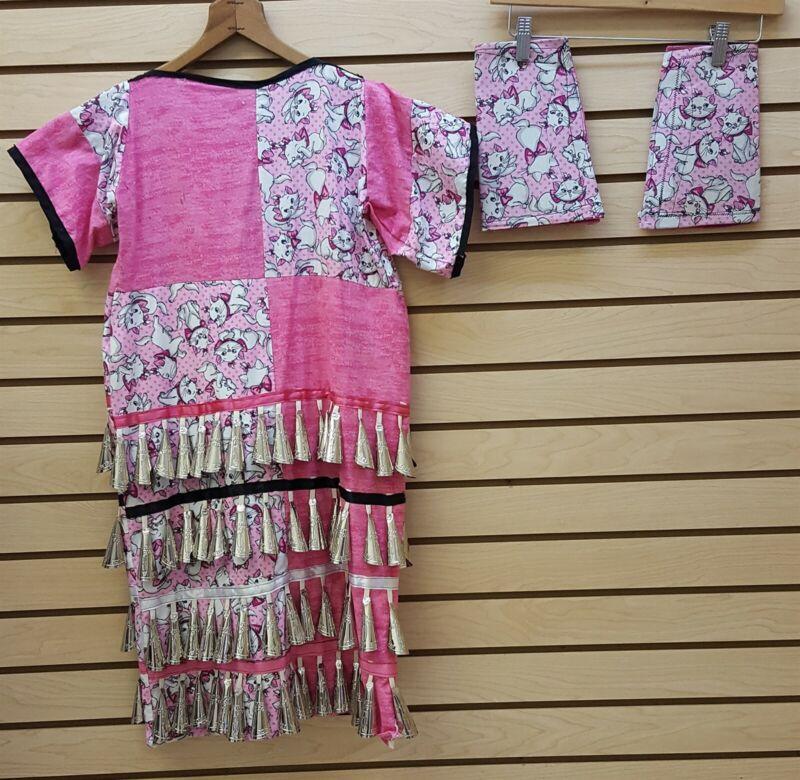 GIRLS 125 JINGLE KITTEN DESIGN NATIVE AMERICAN INDIAN JINGLE DRESS WITH LEGGINGS