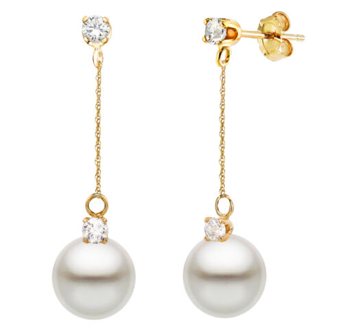 14K Gold Dangle Earrings with 8-8.5mm Freshwater Pearl and 1