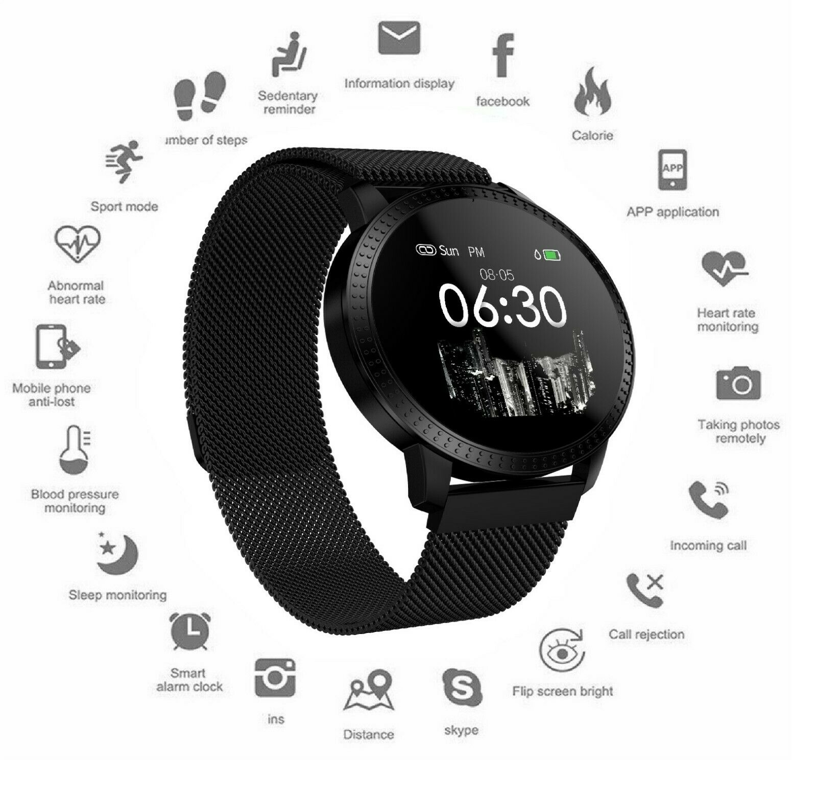 New Waterproof Smartwatch Activity Tracker Sports Smart Watch Heart Rate Monitor