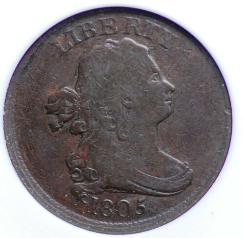 1805 NO STEMS DRAPED BUST HALF CENT OLD SMALL WHITE ANACS F12 SMOOTH CHOCOLATE