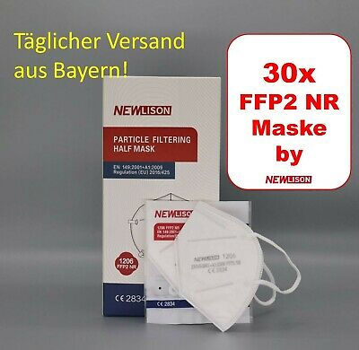 FFP2 Maske Weiß Mundschutz Atemschutz Masken CE2834 zertifiziert 30x Stück