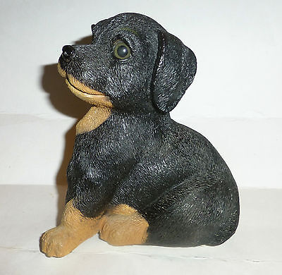 VINTAGE WORKING MUSIC BOX ADORABLE PUPPY DOG FIGURINE STATUE  RESIN 6-1/2'' TALL