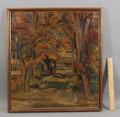 Vintage Signed American Impressionist Fall Autumn Country Landscape Oil Painting Impressionistic Oil Painting