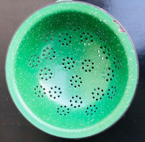 Vintage Green Enamelware Colander