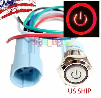 Ssf 16mm Red On Off Led 12v Latching Push Button Power Switch Waterproof
