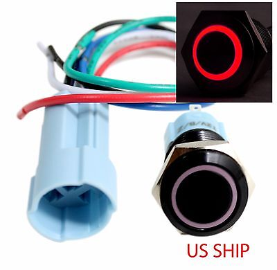 Bsf 16mm Red Angel Eye Led 12v Latching Push Button Power Switch Waterproof