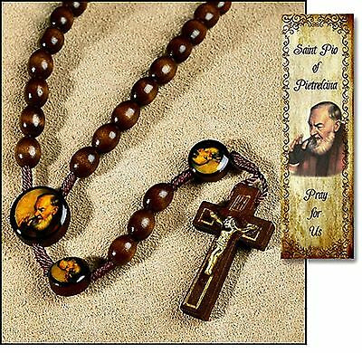 St. Padre Pio Wooden Cord Roasry Patron for Stress Relief  NEW Catholic