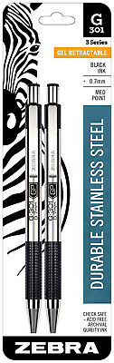 Zebra Ballpoint Pens G301 Black Gel Ink Medium 0.7mm Point Stainless Steel 2pk