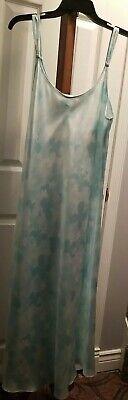 Oscar De La Renta Pink Label Blue Floral Patterned Satin long Nightgown Size XL