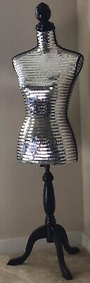 Silver Sequin Female Torso Mannequin On Wooden Adjustable Stand