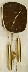 Junghans Retro vintage wooden Design brass pendulum antique wall clock Art Deco