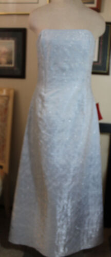 Jessica Mcclintock blue satin w silver wedding formal evening long dress 10