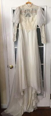 Vintage 80's Wedding Dress, Poofy Shoulders Sz 8. Pearls & Lace.  TLC