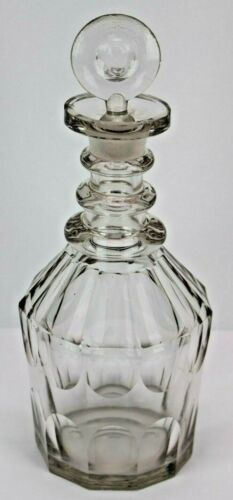 Early 19th Century 3 Ring Georgian Decanter with Stopper, Hand Blown