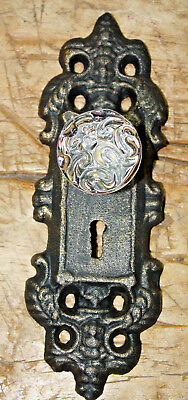 - 2 Cast Iron VICTORIAN Style Barn Handle Drawer Pull Coat Hook Rack BACK PLATE