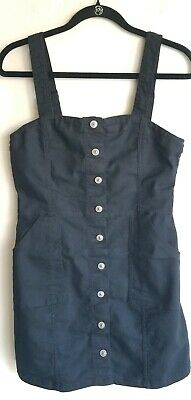 H&M Divided Collection Black Cotton Twill Bib Overall Jumper Dress New Size 12