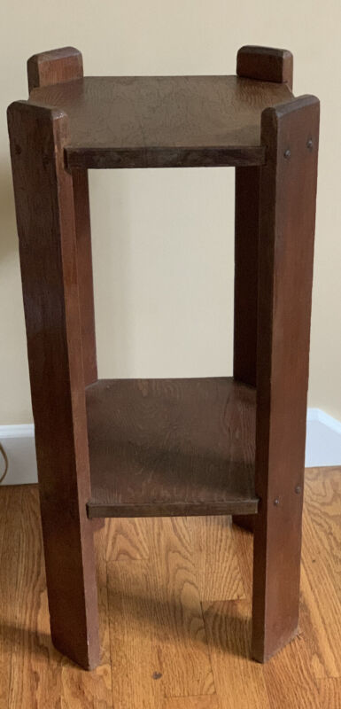 """ARTS & CRAFTS Mission Tambouret Plant Stand Two Tier Table 25 1/2"""""""