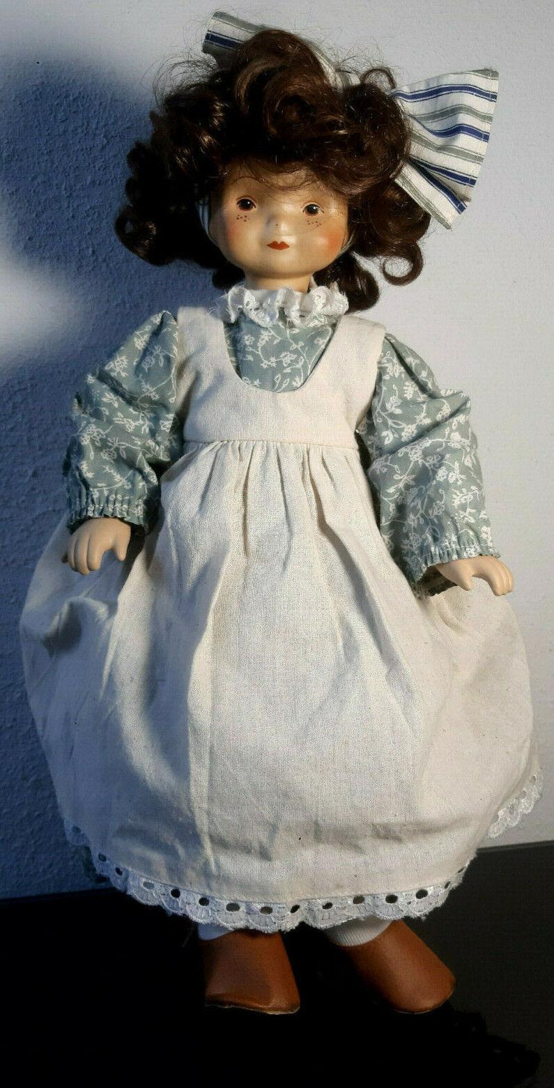 Porzellan / Keramik Puppe 40 cm aus den 90ern braune Augen braune Haare