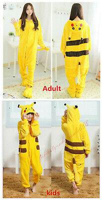 Kids Adult Pajamas Anime Cosplay Costume Dress Pikachu Pokemon Go Sleepwear Gift - Kids Pikachu Costume
