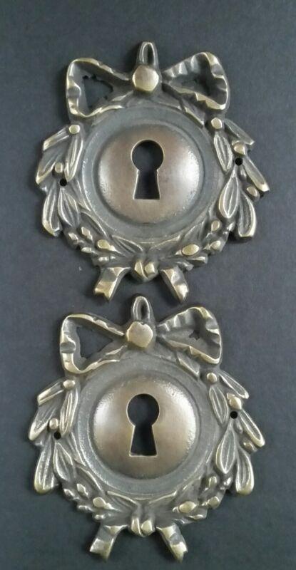 "2 Vintage Antique Style Ornate French Eschutcheons Key Hole Covers 2 3/4"" #E12"